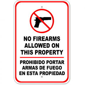 "Bilingual No Firearms Aluminum Sign | 18"" x 12"""