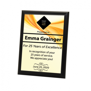 "Career Recognition Full Color 5"" X 7"" Photo Plaque with Black Edge"