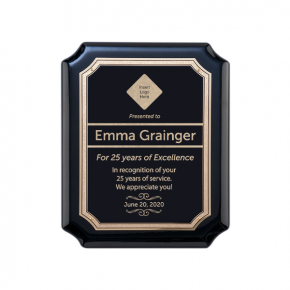 Career Recognition Gloss Black and Gold Wall Plaque with Scalloped Corners