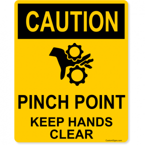 "Caution Pinch Point Full Color Sign | 10"" x 8"""