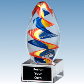 2235 - Colorful Egg Shaped Blown Glass Award