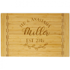 Couple Script Customized Butcher Block Inlay Cutting Board