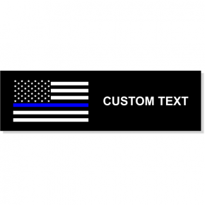 "Custom Text Police Flag Rectangle Bumper Sticker | 3"" x 10"""