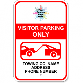 "Custom Visitor Parking Only Tow Away Aluminum Sign | 18"" x 12"""