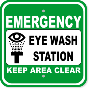 "Emergency Eye Wash Station Aluminum Sign | 12"" x 12"""
