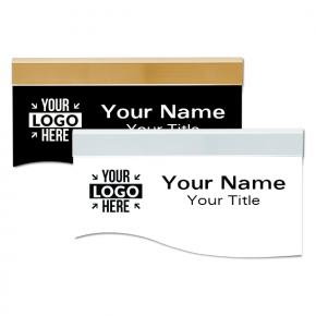 """Engraved Plastic Wave Shaped Sign with Holder - 4"""" x 8"""""""