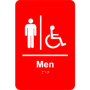Braille Men's Restroom Sign Handicap Accessible