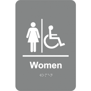 Braille Women's Restroom Sign Handicap Accessible