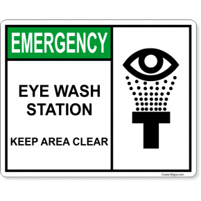 """Eye Wash Station Keep Area Clear Full Color Sign 