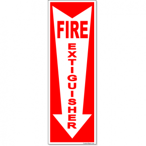 "Fire Extinguisher Down Arrrow Full Color Decal | 12"" x 4"""