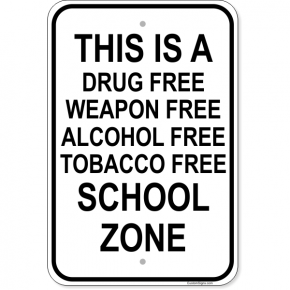 "Firearm School Zone Aluminum Sign | 18"" x 12"""