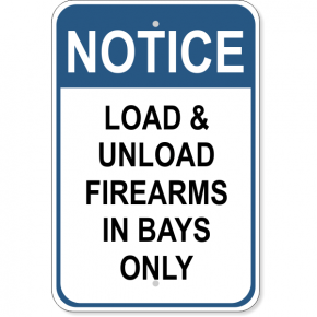 "Firearms Bays Notice Aluminum Sign | 18"" x 12"""