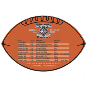 "Football Shaped Magnetic Schedule - 6.5"" x 4.5"""