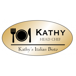 Table Setting Oval Restaurant Name Tag