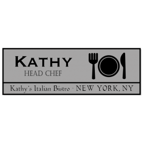 Fork, Plate, and Knife Rectangle Restaurant Name Tag