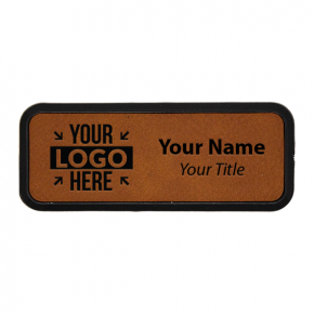 """Framed Leatherette 1"""" x 3"""" Rectangle Name Tag"""