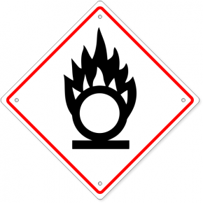 "GHS Oxidizing Flame Over Circle Plastic Sign | 10"" x 10"""