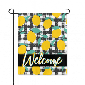 Gingham Lemons Welcome Garden Flag