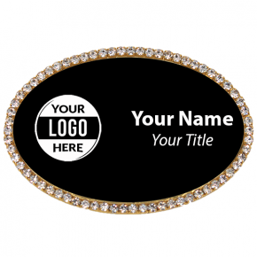 Gold and Black Oval Rhinestone Name Tag