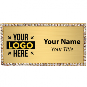 Gold Rhinestone Name Tag