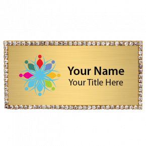 Magnetic Bling Rhinestone Full Color Rectangle Badge