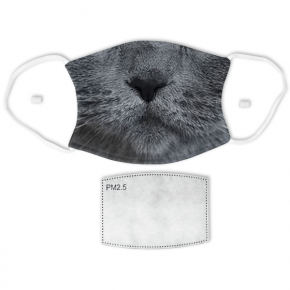 Grey Cat Adult Face Mask