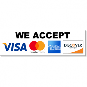 """Horizontal Credit Card Accepted Decal 