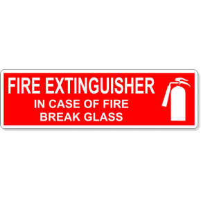 "In Case Of Fire Break Glass Fire Extinguisher Icon Decal | 3"" x 10"""