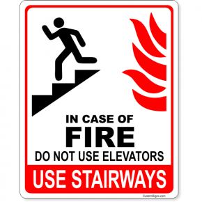 "In Case of Fire Do Not Use Elevators Icon Full Color Sign | 10"" x 8"""