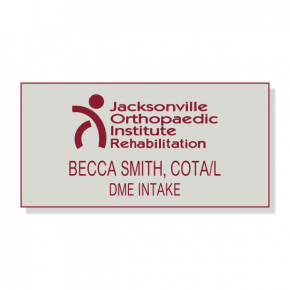 JOI Rehabilitation - Grey/Burgundy - Laser Engraved Name Tag