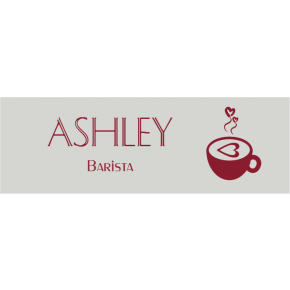 Latte Art Mug Coffee Shop Rectangle Name Tag
