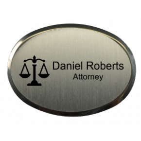 "Law Office Oval 2.5"" x 1.75"" Premier Holder Name Tag"