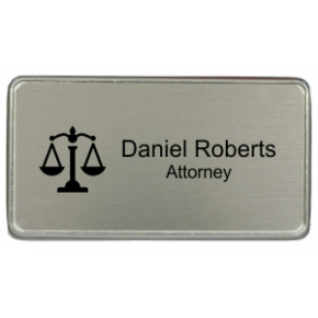 "Law Office Rectangular 3"" x 1.5"" Premier Holder Name Tag"
