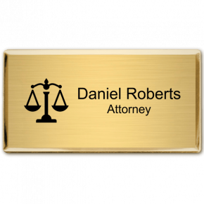 "Law Office Rectangular 3"" x 1.5"" Executive Holder Name Tag"
