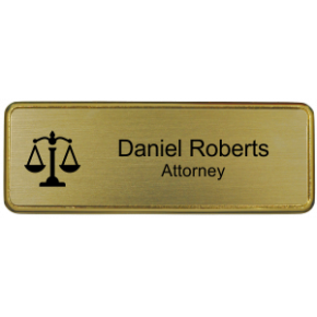 "Law Office Small 3"" x 1"" Premier Holder Name Tag"