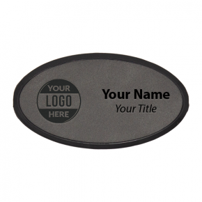 "Framed Leatherette 1.75"" x 3.25"" Oval Name Tag"