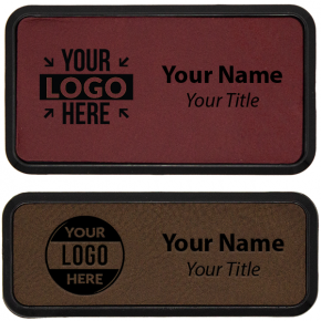 Leatherette Rectangle Framed Name Tag