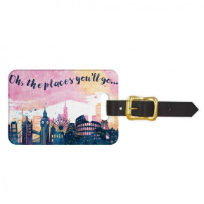 Skylines Watercolor Luggage Tag - Front