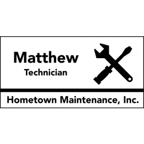 Maintenance Tools 3 Line Rectangle Name Tag