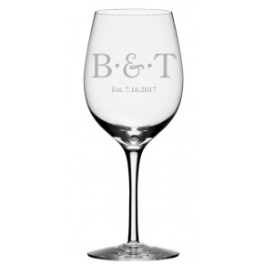 Married Couple Initials and Date Wine Glass