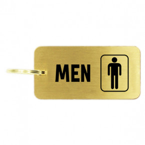 Men's Restroom Icon Brass Key Chain