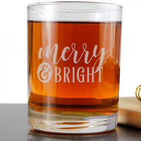 Merry and Bright Holiday Rocks Glass