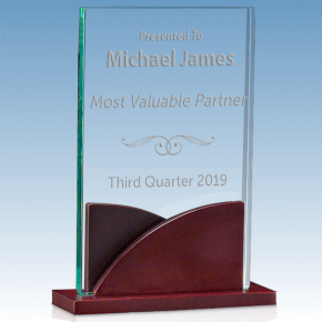Most Valuable Person Premium Acrylic Award with Mahogany Base