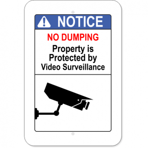 Vertical No Dumping Video Surveillance Sign