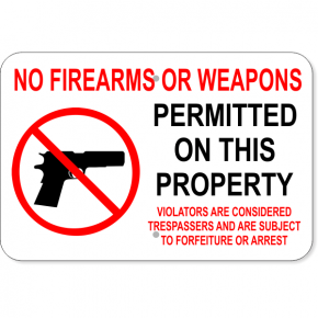 "No Firearms Trespassers Arrest Aluminum Sign | 12"" x 18"""
