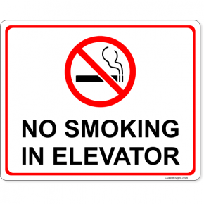 "No Smoking In Elevator Full Color Sign | 8"" x 10"""