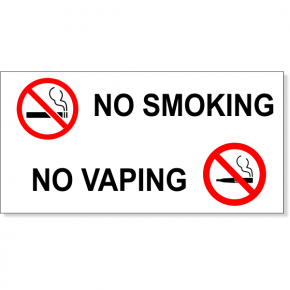 "NO SMOKING NO VAPING with Symbols Vinyl Decal | 3"" x 6"""