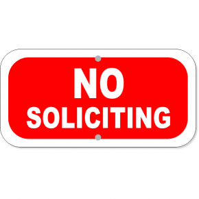 """No Soliciting Aluminum Add-On Sign 