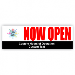 Now Open Hours Banner - 2' x 6'