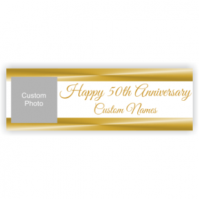 Personalized Golden Anniversary Banner - 2' x 6'